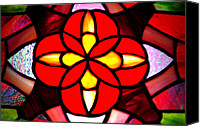 Usa Glass Art Canvas Prints - Red Stained Glass Canvas Print by LeeAnn McLaneGoetz McLaneGoetzStudioLLCcom