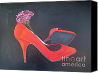 Stillettos Canvas Prints - Red Stillettos2die4 Canvas Print by Tina Karen