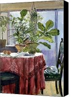 Potted Plants Painting Canvas Prints - Red Table Cloth Canvas Print by Donald Maier