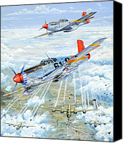 Air Plane Drawings Canvas Prints - Red Tail 61 Canvas Print by Charles Taylor