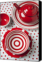 Bowls Canvas Prints - Red Teapot Canvas Print by Garry Gay