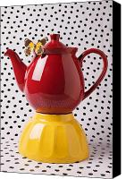 Stoneware Canvas Prints - Red teapot with butterfly Canvas Print by Garry Gay