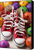Tennis Canvas Prints - Red tennis shoes and balls Canvas Print by Garry Gay