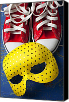 Shoes Canvas Prints - Red Tennis Shoes and Mask Canvas Print by Garry Gay