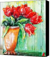 Vase Sculpture Canvas Prints - Red tulips in vase           Canvas Print by Raya Finkelson