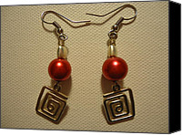 Unique Jewelry Jewelry Canvas Prints - Red Twisted Square Earrings Canvas Print by Jenna Green