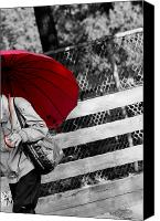 Selective Color Canvas Prints - Red Umbrella Canvas Print by Michel Soucy