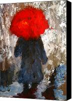 Cloudy Painting Canvas Prints - Red umbrella under the rain Canvas Print by Patricia Awapara
