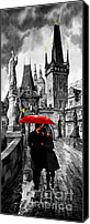 Charles Bridge Mixed Media Canvas Prints - Red Umbrella Canvas Print by Yuriy  Shevchuk