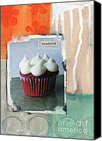 Wonderful Canvas Prints - Red Velvet Cupcake Canvas Print by Linda Woods