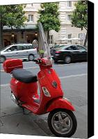 Architecture Photo Canvas Prints - Red Vespa Canvas Print by Inge Johnsson
