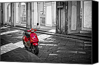 Fineartam Canvas Prints - Red Vespa Canvas Print by Michael Avory