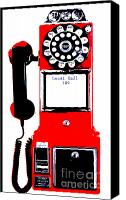 Vintage Telephone Canvas Prints - Red Vintage Telephone Pop Art Canvas Print by ArtyZen Studios