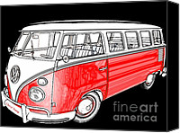 Classic Automobiles Canvas Prints - Red Volkswagen Canvas Print by Cheryl Young