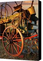 Chuck Wagon Canvas Prints - Red Wagon Wheel Canvas Print by Robert Anschutz