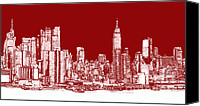 Nyc Drawings Canvas Prints - Red white NYC skyline Canvas Print by Lee-Ann Adendorff