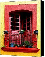 Tlaquepaque Canvas Prints - Red Window Canvas Print by Olden Mexico