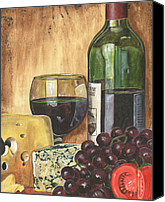 Brown Painting Canvas Prints - Red Wine and Cheese Canvas Print by Debbie DeWitt