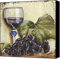 Seafoam Canvas Prints - Red Wine And Grape Leaf Canvas Print by Debbie DeWitt