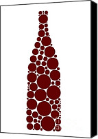 Drawing Drawings Canvas Prints - Red Wine Bottle Canvas Print by Frank Tschakert