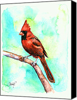 Baseball Painting Canvas Prints - Redbird Cardinal Canvas Print by Christy  Freeman