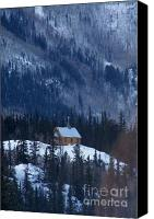 Log Cabin Art Canvas Prints - Redcloud Chapel in Blue Canvas Print by David Ackerson