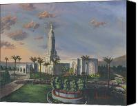 Mormon Painting Canvas Prints - Redlands Temple Canvas Print by Jeff Brimley