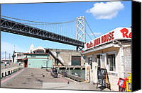 Bay Bridge Canvas Prints - Reds Java House and The Bay Bridge at San Francisco Embarcadero . 7D7712 Canvas Print by Wingsdomain Art and Photography