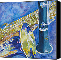 Saxaphone Painting Canvas Prints - Reeds Between Sets Canvas Print by Jenny Armitage