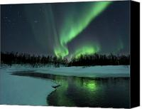 Water Canvas Prints - Reflected Aurora Over A Frozen Laksa Canvas Print by Arild Heitmann