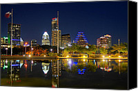 Austin Skyline Canvas Prints - Reflecting Pond Canvas Print by Taylor Hickman