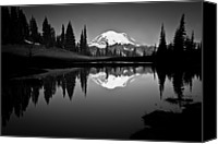 Peak Canvas Prints - Reflection Of Mount Rainer In Calm Lake Canvas Print by Bill Hinton Photography
