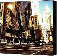 Nyc Canvas Prints - Reflections - New York City Canvas Print by Vivienne Gucwa