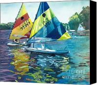 Great Painting Canvas Prints - Reflections after the Race Canvas Print by LeAnne Sowa