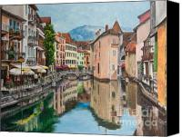 Lake Canvas Prints - Reflections Of Annecy Canvas Print by Charlotte Blanchard