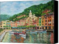Italian Mediterranean Art Canvas Prints - Reflections Of Portofino Canvas Print by Charlotte Blanchard