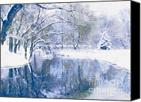 Open Mixed Media Canvas Prints - Reflections Of Winter Canvas Print by Zeana Romanovna