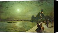 Oil Lamp Painting Canvas Prints - Reflections on the Thames Canvas Print by John Atkinson Grimshaw