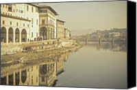 Tuscany Canvas Prints - Reflections Over Arno River, Florence, Italy Canvas Print by Gil Guelfucci