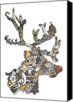 Holiday Drawings Canvas Prints - Reindeer Games Canvas Print by Tyler Auman