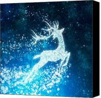 Xmas Canvas Prints - Reindeer stars Canvas Print by Setsiri Silapasuwanchai