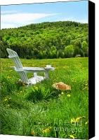 Vacation Digital Art Canvas Prints - Relaxing on a summer chair in a field of tall grass  Canvas Print by Sandra Cunningham