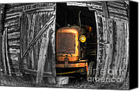 Barn Digital Art Canvas Prints - Relic From Past Times Canvas Print by Heiko Koehrer-Wagner