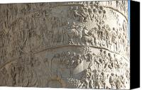 Hand Crafted Canvas Prints - Relief. detail view of the Trajan Column. Rome Canvas Print by Bernard Jaubert