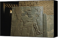 Iraq Canvas Prints - Relief Sculpture Of Assyrian King Canvas Print by Randy Olson