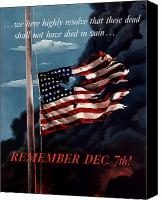 Flag Digital Art Canvas Prints - Remember December Seventh Canvas Print by War Is Hell Store