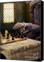 Chess Game Canvas Prints - Renaissance Lady Playing Chess Canvas Print by Jill Battaglia