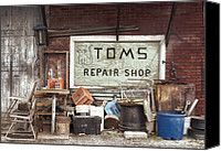 Buy Photos Online Canvas Prints - Repair Shop Canvas Print by Steven  Michael
