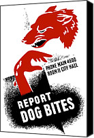 War Effort Canvas Prints - Report Dog Bites Canvas Print by War Is Hell Store