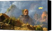Mountain Sculpture Digital Art Canvas Prints - Reptoid Aliens Discover A Statue Canvas Print by Mark Stevenson